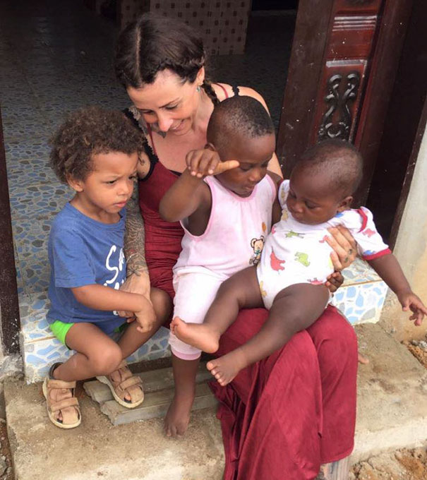 Anja with Hope and other kids