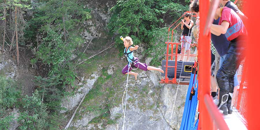 Bungee Jump in Niouc Bridge, Val d'Anniviers, Switzerland 190 meters - 212 USD
